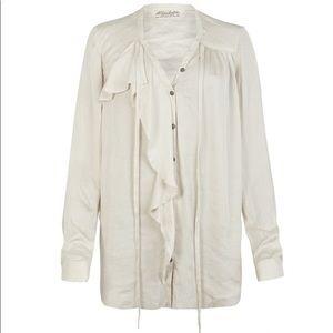 All Saints Cancity Shirt Ruffle Button Down Size 6